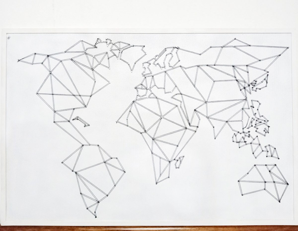 ARTWORK 1: POLYGONAL WORLD MAP PINBOARD